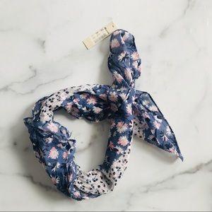 NWT Madewell floral blue heart bandana scarf